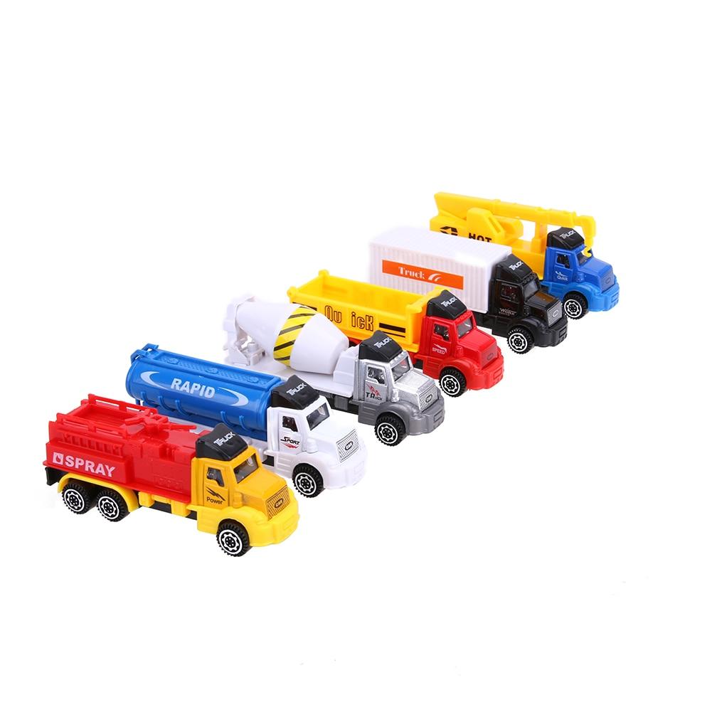 6PCS/PACK Car Model Kids Toy Force Control Truck Model Sets Pull Back Alloy Truck Car Model Children Car Toy Gift Birthday Boy