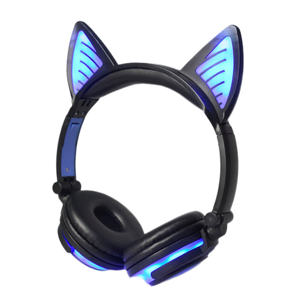 2018 LED Lights Headset Cute Wireless Bluetooth Earphone Foldable Cat Ear Rechargeable Headset Fashion Shining Headphone