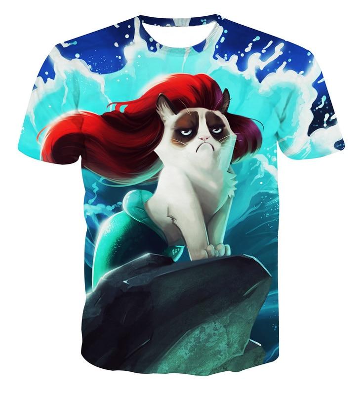 Alisister Men/women Harajuku T Shirt Red Hair Mermaid Waves Of Angry Cat Tshirts Animal 3d Printed T-shirts Cartoon Tee Shirt