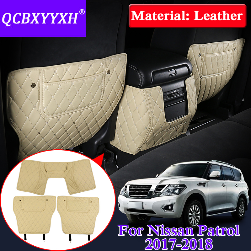 QCBXYYXH Car Armrest Cover Kick Pad Case For Nissan Patrol Y62 2017 2018 Back Seat Protection Mat Children Anti-Kick Pad Leather