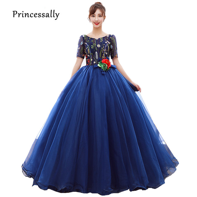 Vestido De Festa Longo New Royal Blue Evening Gown Floor Length Embroidery  Lace Flower Bride Wedding Party Luxury Prom Dress c63467d39f4c