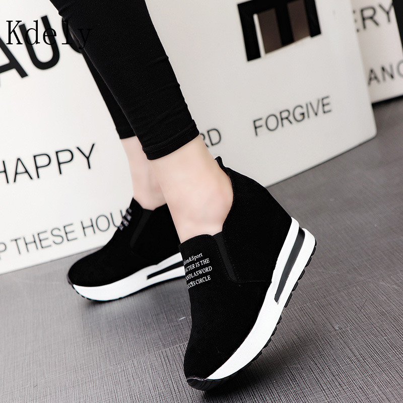 How Selling Flock New High Heel Lady Casual Black/Red Women Sneakers Leisure Platform Shoes Breathable Height Increasing Shoes