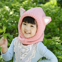2017 New Winter Children Crochet Hooded Cat Cowl Caps Neck Wrap Scarf Knitted Collar Baby Girl