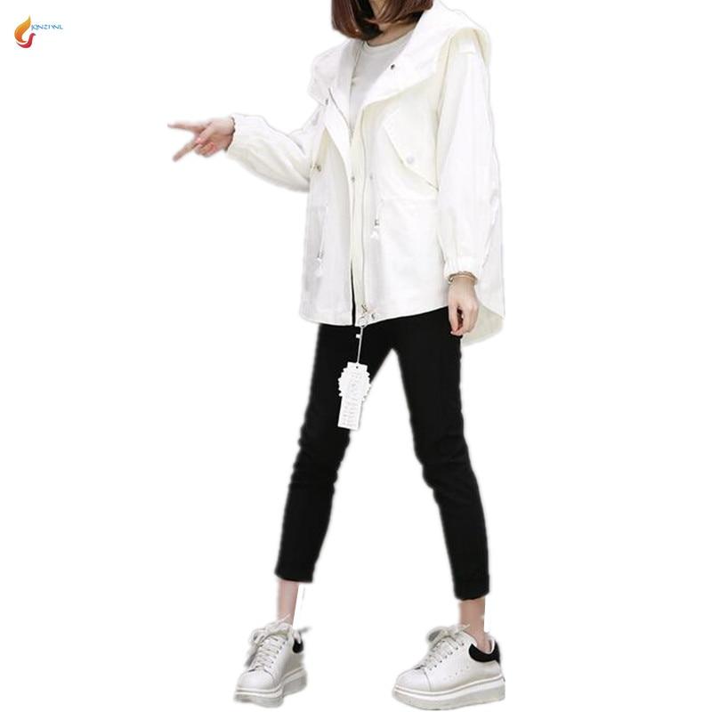 Long Mince Light khaki Blue Manteau 2018 Jqnzhnl rice White G80 Printemps Casual Nouvelle À Capuchon Grande Lâche vent Coupe Veste Femmes Mode Taille Moyen qHqpZIw