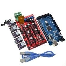3D طابعة 1 قطعة ميجا 2560 R3 + 1 قطعة RAMPS 1.4 التحكم لوحة + 5 قطعة DRV8825 محرك متدرج محرك الناقل Reprap ل 3D مجموعة الطابعة