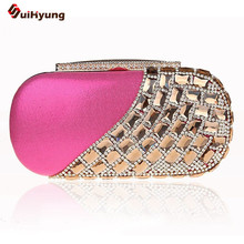 2016 New Women Upscale Rhinestone Clutch Exquisite Diamond Evening Bag Wedding Party Banquet Handbag Shoulder Messenger Bag