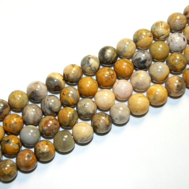 """Wholesale Charm Natural Stone Beads Yellow Round 4/ 6/8/10/12 MM Strand 15 """" Diy For Jewelry Making Accessories Free Transport"""