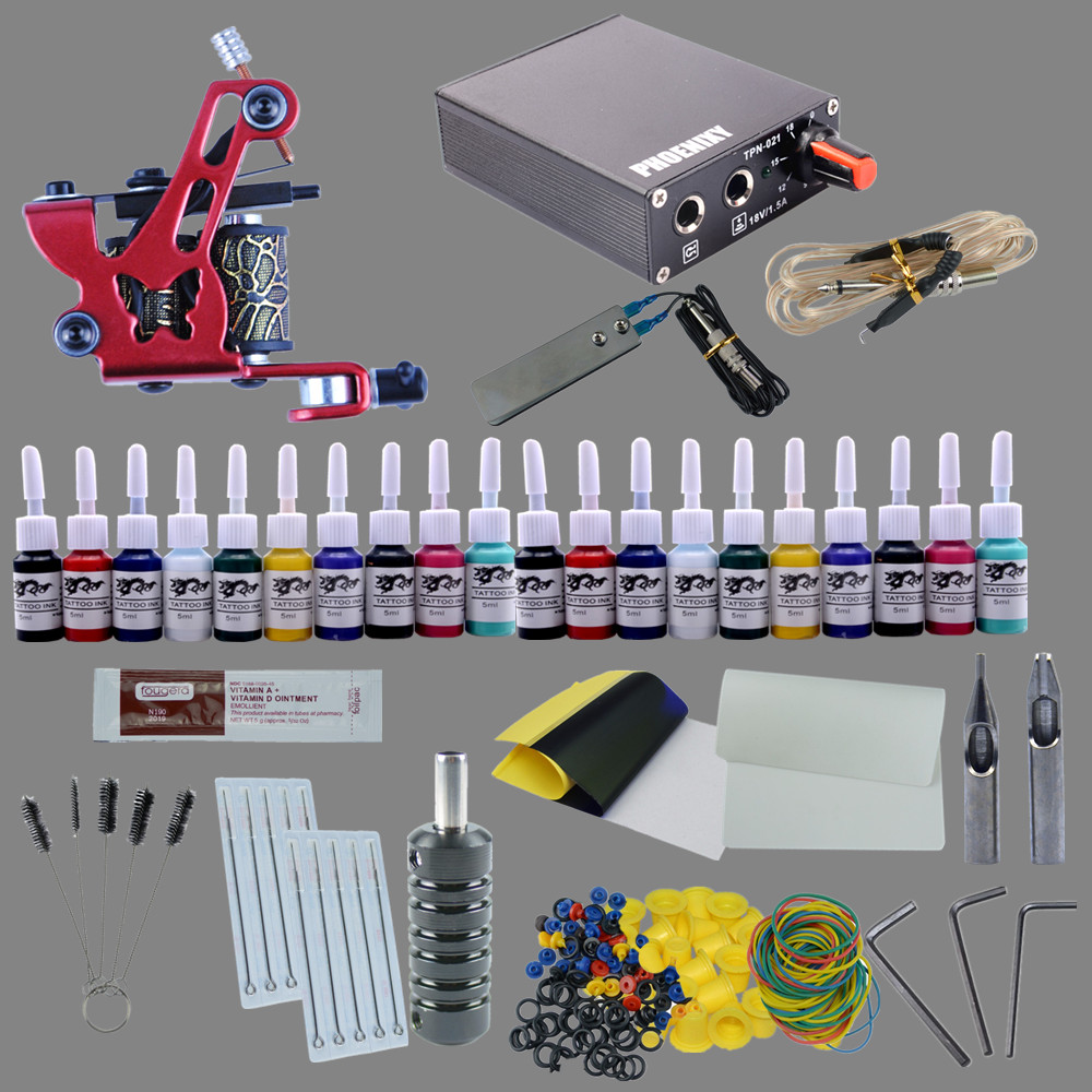 Complete Tattoo Kit 1 Liner Tattoo Machine and Liner Shader Tattoo Gun 20 Color Inks 10pcs Needles Body Tattoo Art Professional