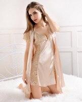 Summer Silkabove Knee, Mini Robe Women's Dress V neck Solid Sexy Bathrobe Dressing Gowns For Women Sleep Lingerie Night