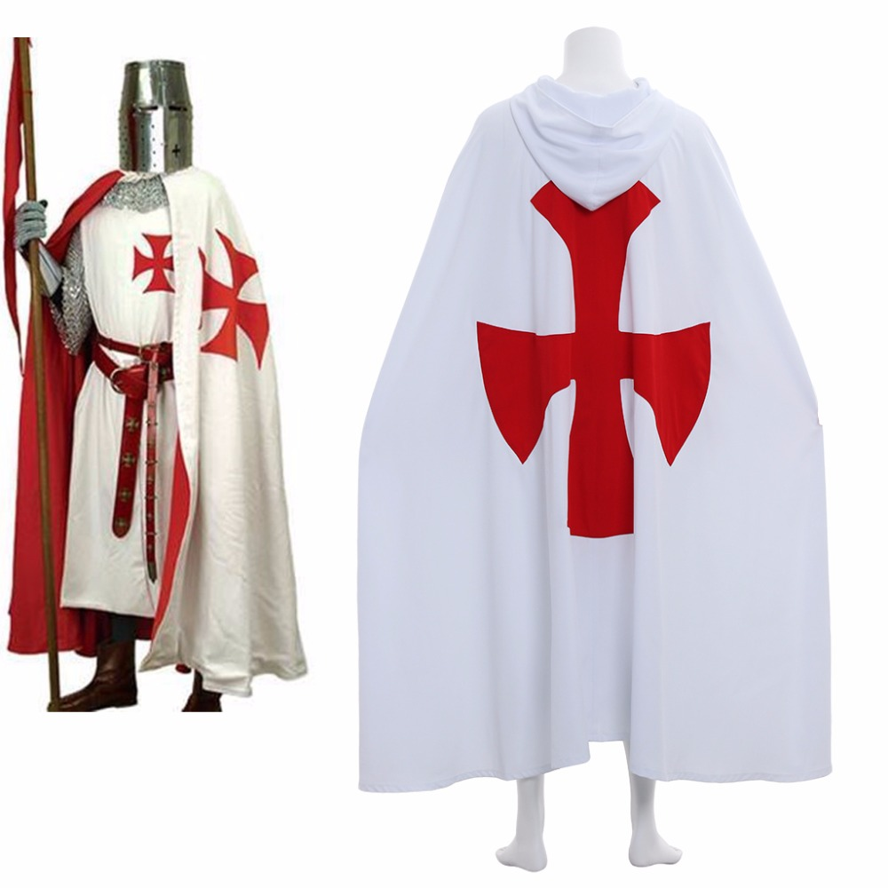 Cosplaydiy Medieval St George Knight Crusader Tunic Cloak Costume Knight White Red Cross Hospitaller Crusader Tunic Cloak