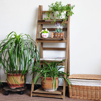 Panana 4 Tier Wooden Plant Flower Shelf Stand Garden Rack Nursery Pot Holder Balcony Display Bookshelf Ladder Shape
