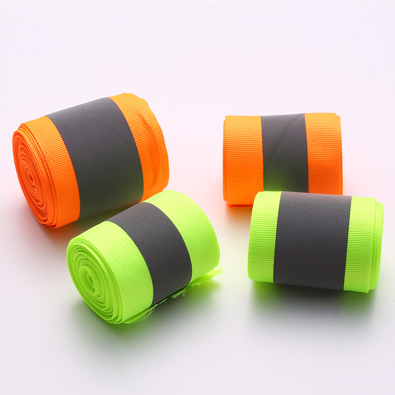 3cmx5m High Visibility Reflective Fabric Tape Fluorescent Yellow&Orange Warning Safety Reflective Tape Sew On Safe Clothing