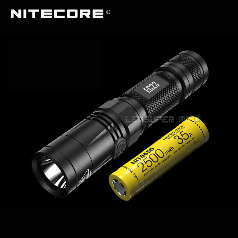 Latest 2017 Nitecore EC23 1800 lumens CREE XHP35 HD E2 LED High Performance Flashlight with Battery (IMR18650 2500mAh 35A) nitecore ec23 8 modes 1800 lumens cree xhp35 hd e2 led flashlight waterproof outdoor camping hiking portable torch free shipping