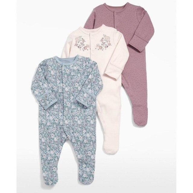 9d96b8d8e Baby Girl Romper 3pcs Newborn Sleepsuit Flower Baby Rompers 2018 ...