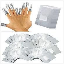 100 Unids/lote Aluminio Del Arte Del Clavo Empapa del Gel de Acrílico Polaco Removal Nail Wraps Removedor de Maquillaje de Uñas Herramienta Del Carel