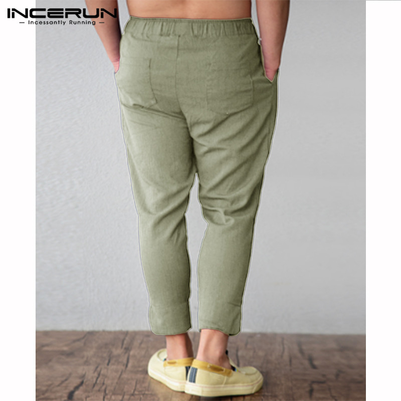 INCERUN Solid Color Summer Beach Pants Pockets Male Nine Pants Feet Tapered Pants Elastic Band Pine Seaside Retro 2019 Trousers