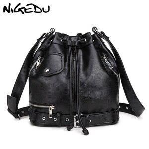 NIGEDU Rock Style Women Shoulder Bag Punk rivet messenger bags PU Leather Handbags female Designer Motorcycle Bucket Totes black(China)