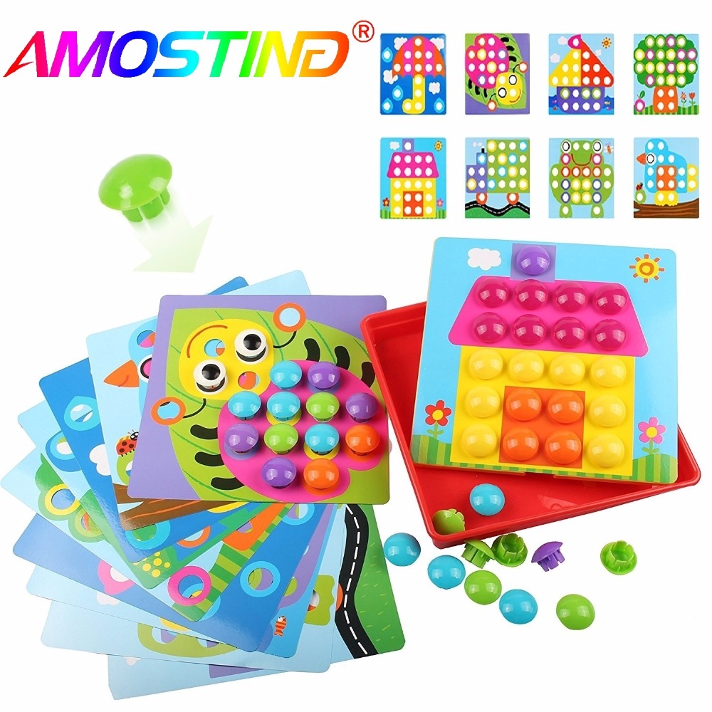 46PCS Baby Early Educational Toys Pegboard Mushroom Nails Jigsaw Composite Picture DIY Creative Mosaic Mushroom Kit Puzzles Toys aqua beads pegboard toys sticky beads accessories fuse beads jigsaw puzzle water beadbond educational toys diy kids