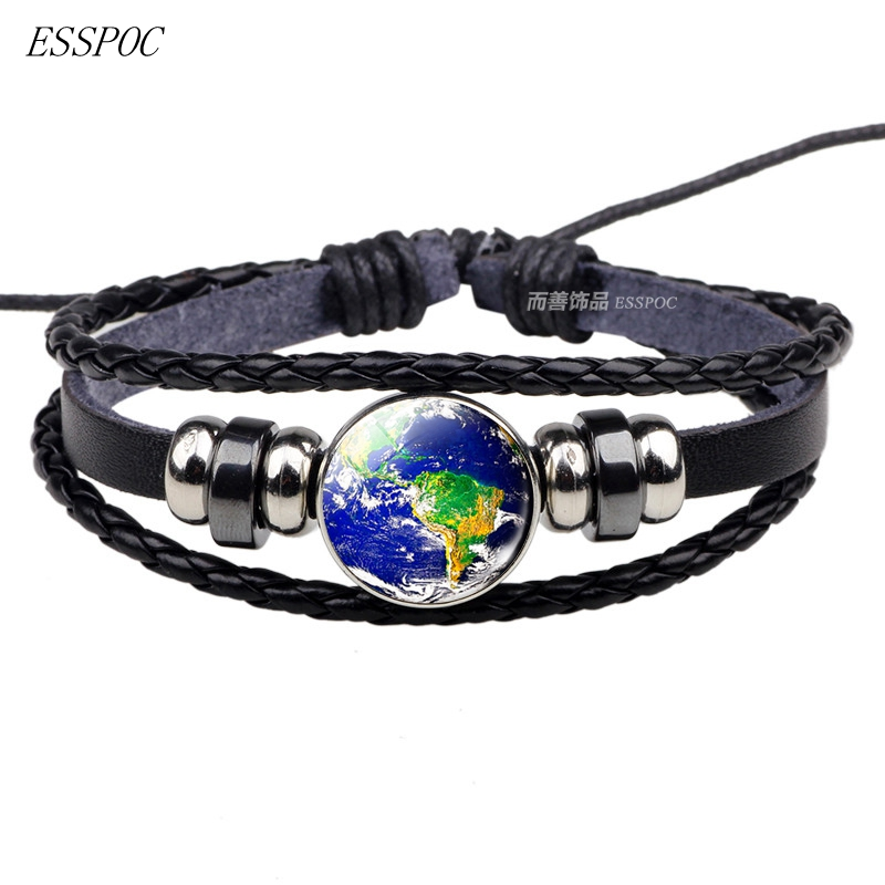 Fashion Earth Planet Black Woven Bracelet Head Glass Dome Cabochon Jewelry Weave Multilayer Button Bracelet Charm Women Men Gift