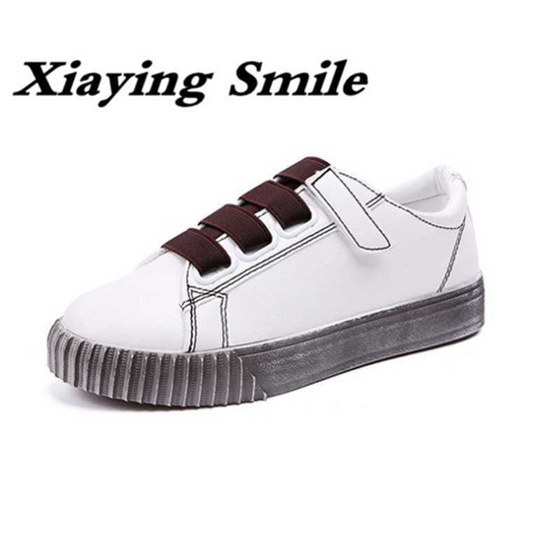 Xiaying Smile Spring Woman Sneakers Shoes Women Flats Casual Fashion Round Toe Thick Sole Hook And Loop Students Women Shoes xiaying smile summer new woman sandals casual fashion shoes women zip fringe flats cover heel consice style rubber student shoes
