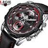 LIGE Men Wrist Watch Sport Men Watches Fashion Quartz Watch Luminous Waterproof Watch Men Multifunction Men
