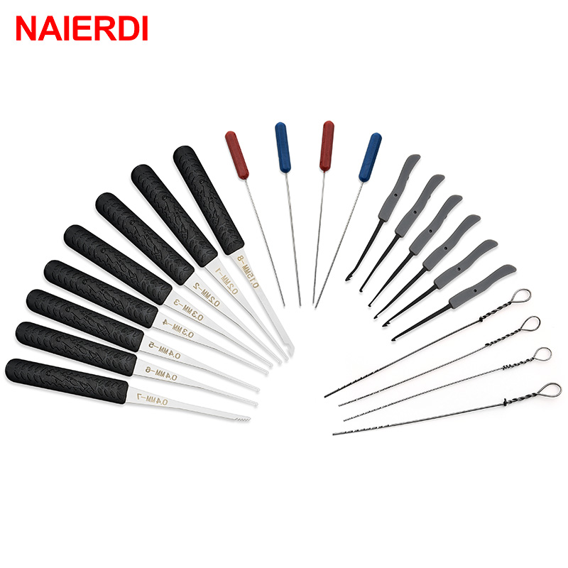 US $1 32 27% OFF|12PCS NAIERDI Lock Pick Set Locksmith Supplies Broken Key  Auto Extractor Remove Hooks Stainless Steel DIY Hand Tools Hardware-in