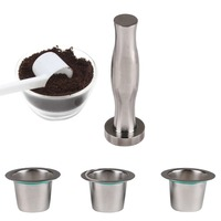 1 Set Coffee Filter Refillable Coffee Capsule Stainless Steel Tamper Reusable Pod Baskets Nespresso Machine
