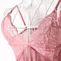 Women Sexy V-Neck Lace See Through Nightdress Sleepwear Dress with G-String