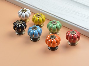 Image 3 - 10pcs 40mm Ceramic pumpkins Cabinet Knobs Furniture Handles Dresser Drawer Handles Door Knob Screw Home Decorating Cane Toppers