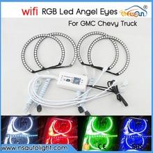 For GMC Sierra Chevrolet Silverado WIFI Control Angel Eyes kit Multi-Color Ultra bright RGB LED Halo Ring