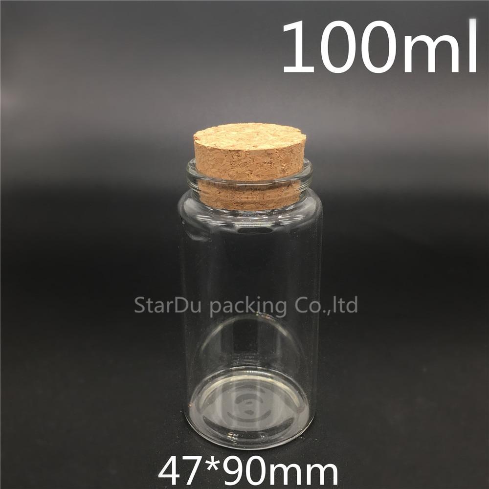 Free shipping 200pcs/lot 100ml Clear Glass Bottle with Cork, cork jar 100cc Sample Vials, Glass Cork Bottles 2ml 10pcs mini small tiny clear cork stopper glass bottles vials y207e hot sale
