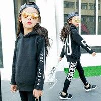 Çocuk Giyimi Kız Sonbahar Mektuplar Kore Yün Polar Kazaklar Çocuk Sıcak Hoodie Çocuklar T-Shirt Giyim Siyah Pamuk