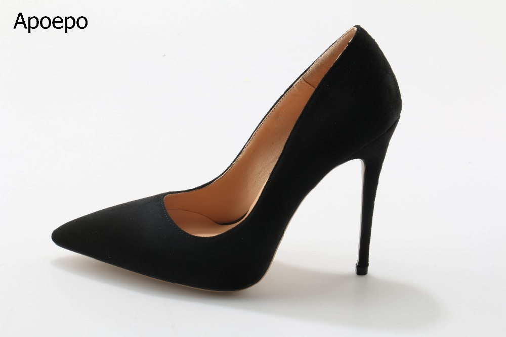 Hottest Selling Women Solid Black Flock Leather Pointed Toe Slip On Shallow Pumps Summer Fashion High Thin Heel Dress Shoes fashion women ladies pumps solid color spring summer pointed toe thin heel shoes new arrival high quality brand slip on pumps
