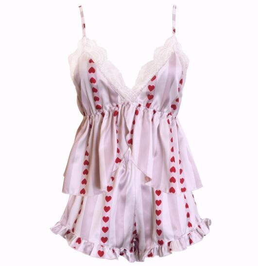 Freshing Summer Embroidered Lace Sexy Women Pajama Set Spaghetti Strap Nightdress Short Set Brand Hight Quality