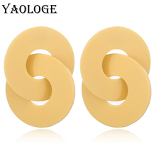 YAOLOGE Round Acrylic Earrings Fashion Cross Circle Creative Personality Vintage Statement Bohemian Style For Women Jewelry New