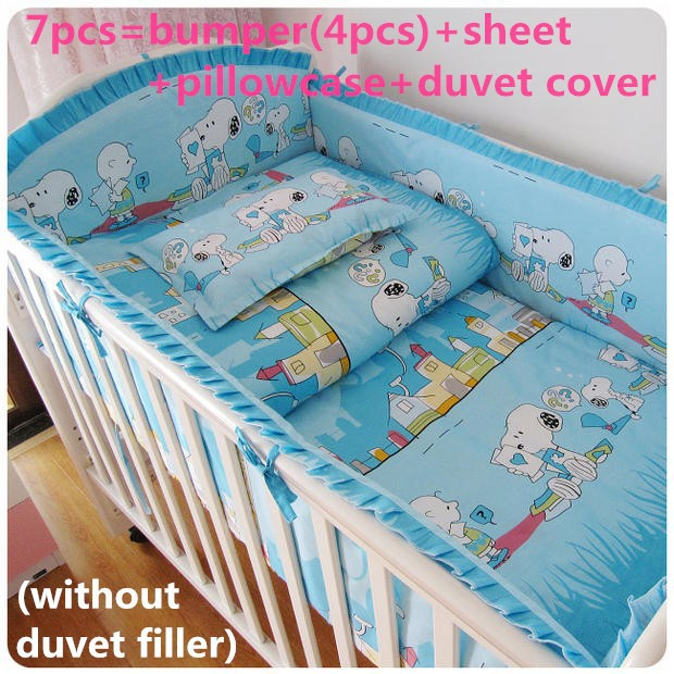 Promotion! 6/7PCS baby bedding set cotton crib bedding piece set,Duvet Cover, unpick ,120*60/120*70cm