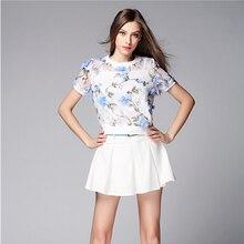 Yaz Seçimi 2 Parça Set Bayan Elbise 2016 Mavi 3D çiçekler Organze Dantel Iki parçalı Elbise Bayan Elbise Suit Aliexpress uk 52495