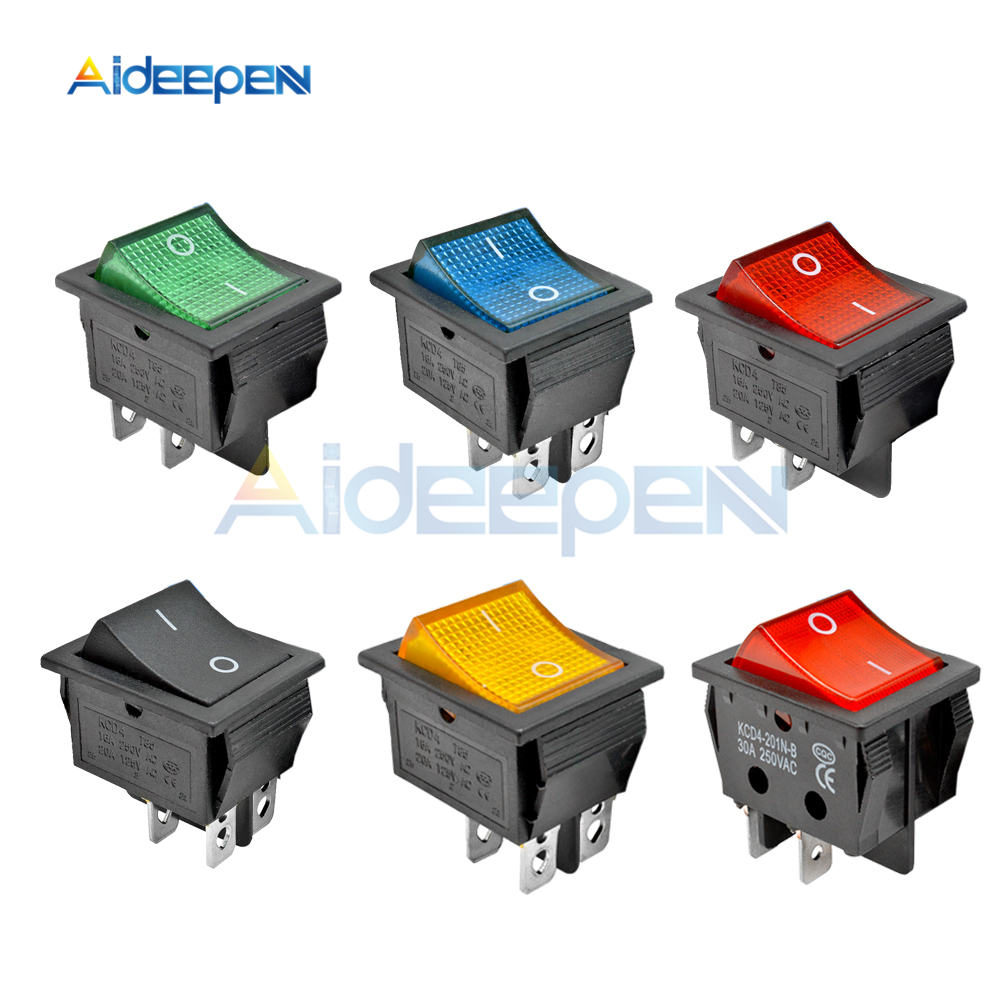 KCD4 Latching Rocker Switch Power Switch I/O 4 Pins With Light 16A 30A 250VAC 20A 125VAC Red Yellow Green Blue Black Boat Switch