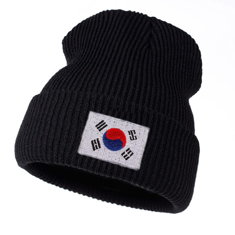 TUNICA Winter 2017 New Women Knitted Wool Hat Fashion Men And Women Adult Cotton Warm Hat Splicing Korean Flag Hip Hop Cap