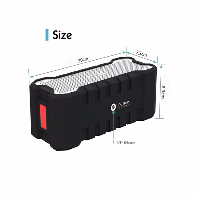 Bluetooth with Enhanced Bass Dual 5W Drivers / A2DP /30-Hour Playtime Speaker Outdoor Portable Wireless Waterproof Speaker