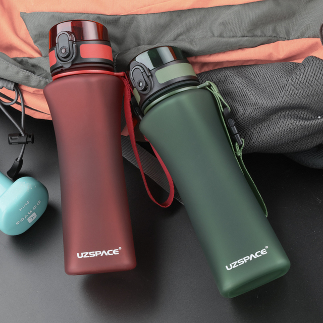 UZSPACE Sports Water Bottles 500ml Fashion 6 Colors Protein Shaker Hiking Travel My Bottle For Water Plastic Drinkware BPA Free 5
