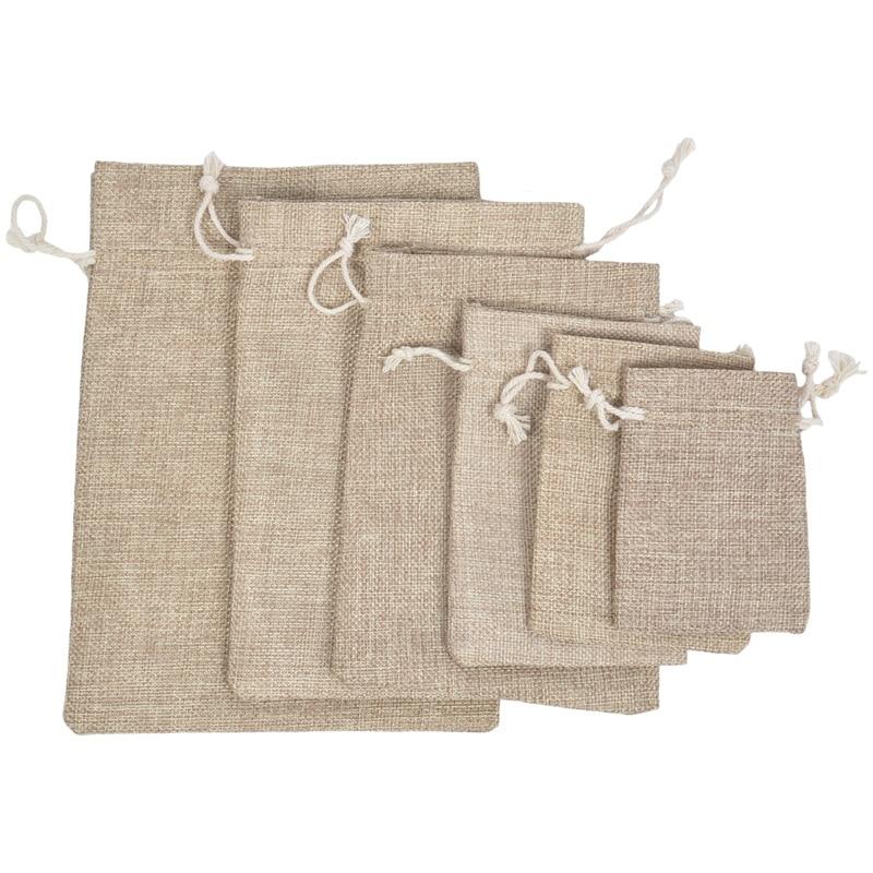 Reusable Linen Drawstring Bag Women Bag Shopping Bag Women Men Travel Shopper Tote Storage Bags Small Coin Purse