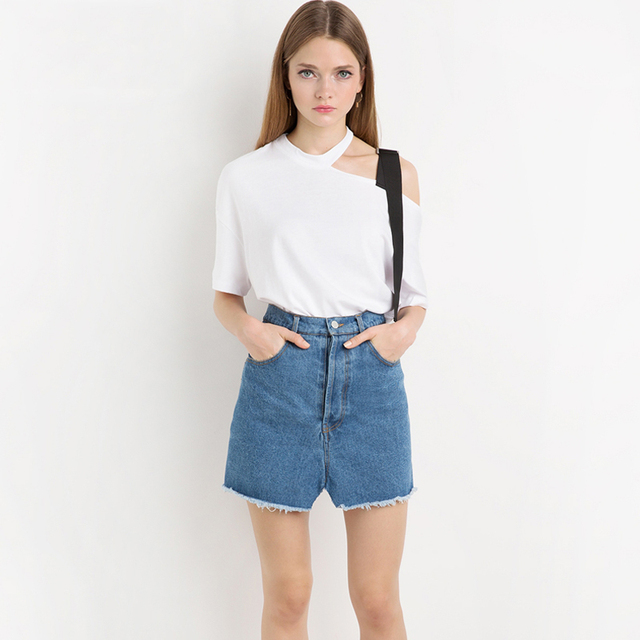 75d586638187a Black strap white one shoulder tees for women short sleeve asymmetric t  shirts ladies girls preppy casual cut out shoulder tops