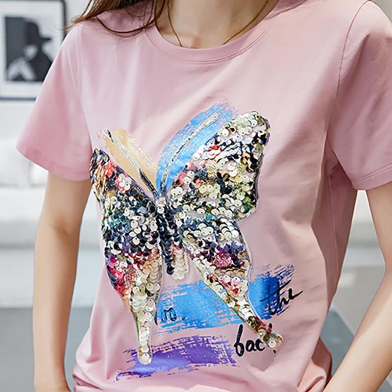 Shintimes Tee Shirt Femme Tshirt With Sequins T Shirt Women Summer Tops Casual T-Shirt Short Sleeve Camisetas Mujer Verano 2018