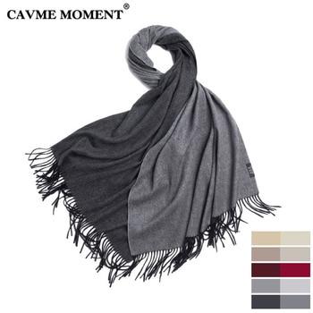 CAVME Pure Cashmere Scarf Unisex Basic Long Scarves Double Colors Taseel Luxury 100% Cashmere Pashmina Wraps Shawl 70*200cm 310g