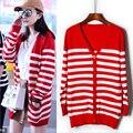 2016 новый Красный и белый полосатый длинный участок свободные трикотажные свитера кардигана женщин