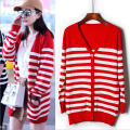 2016 new Red and white striped long section of loose knit cardigan sweater women