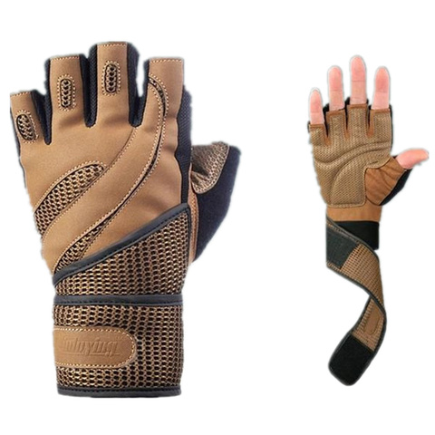 Men Body Building Brand Fitness Gloves Equipment Weight lifting Luvas Non-slip breathable Long Wrist Wrap Black Brown Mittens Lahore