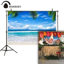 Allenjoy backdrop for photography beach waves scene palm leaves summer ocean background photo studio photocall