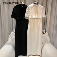FOMOLAYIME Autumn Dresses Female 2018 New Women Fashion Designer Cloak Sleeves Solid Long Dress